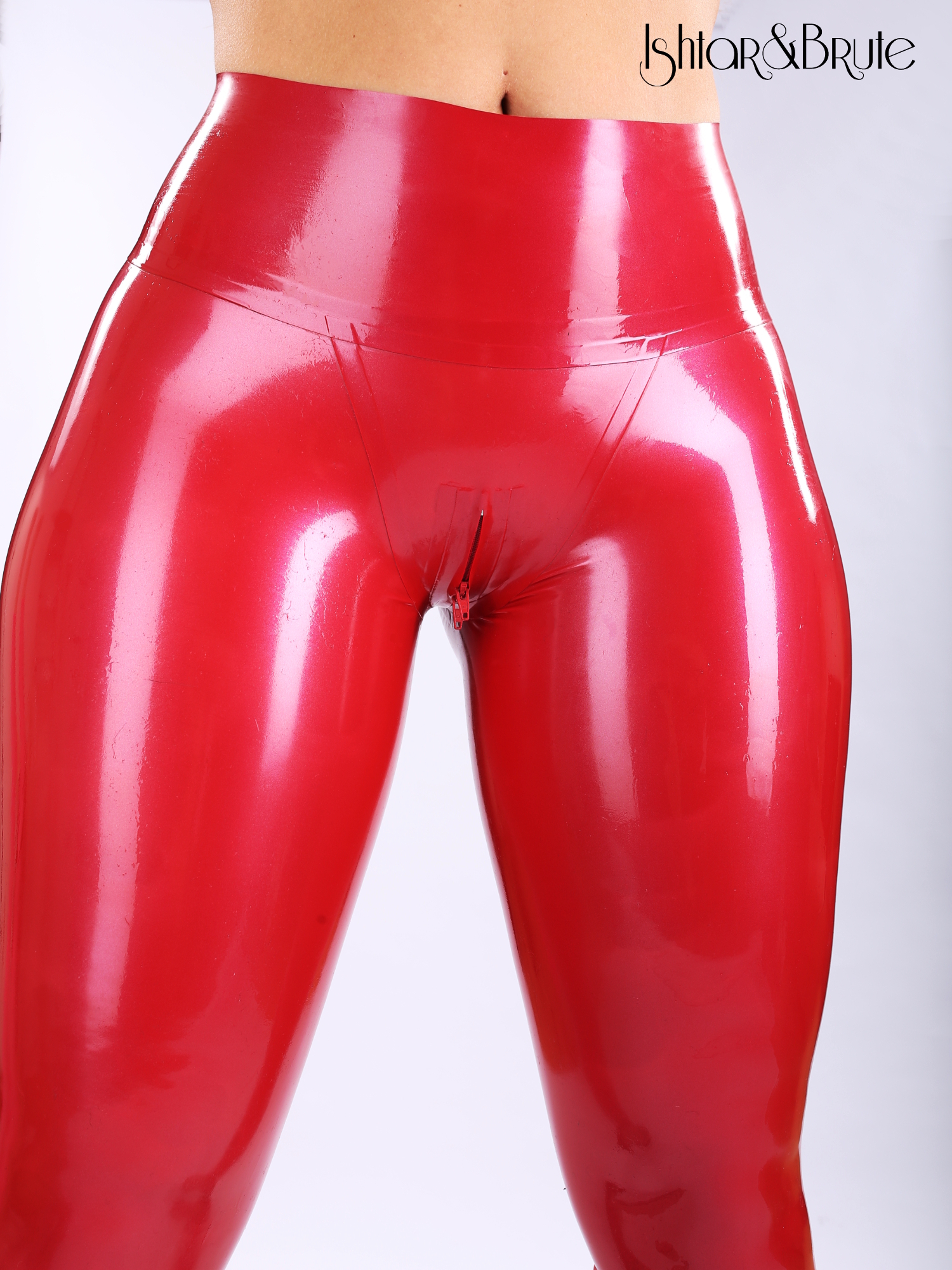 latex leggings red