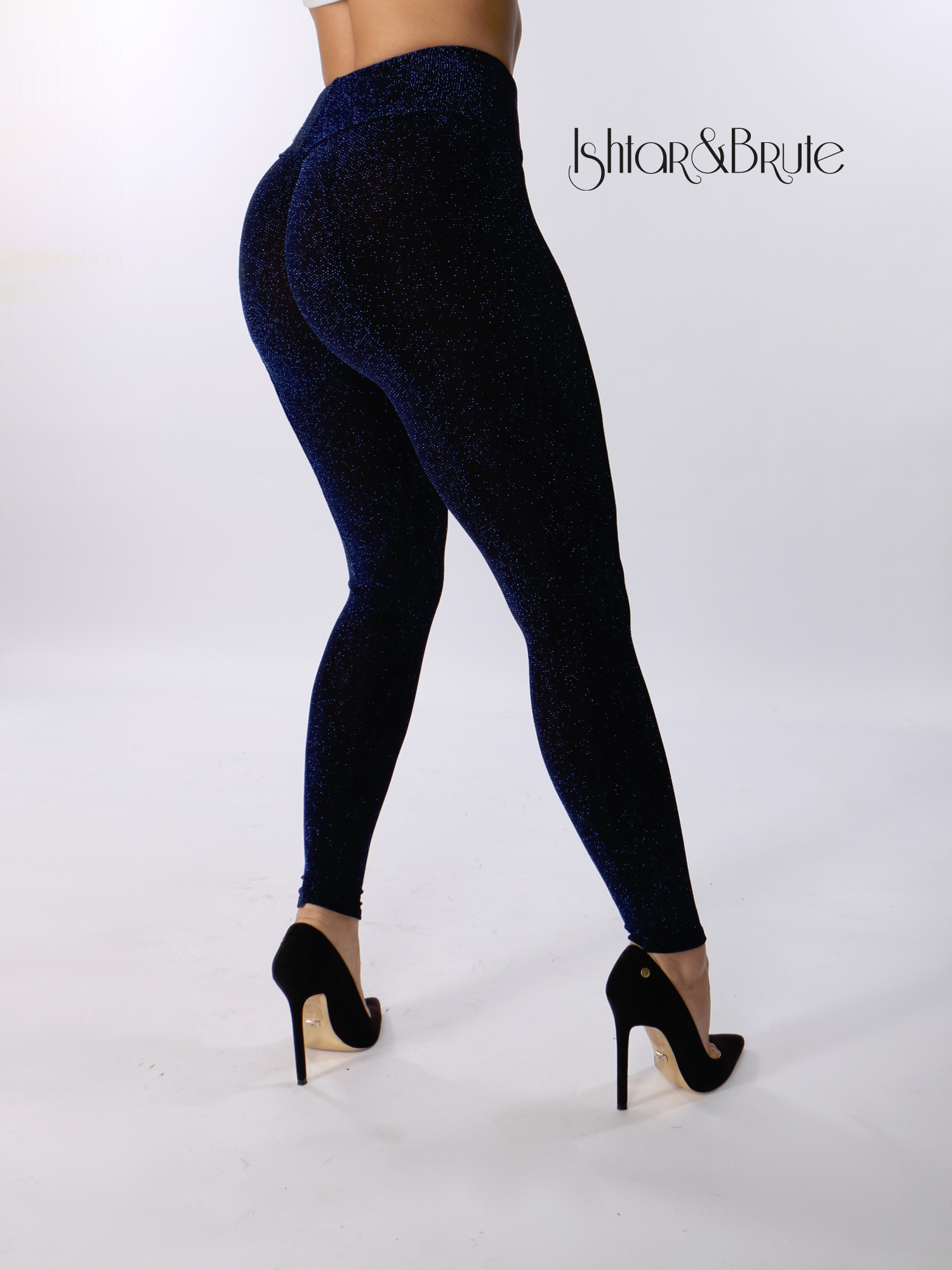 e78f77faa5167 Cheeks legging in black spandex with blue lame