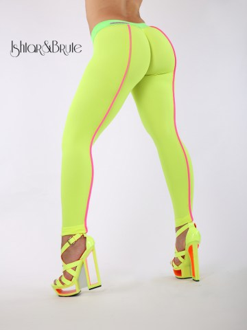 Cheeks leeging in yellow neon spandex 1