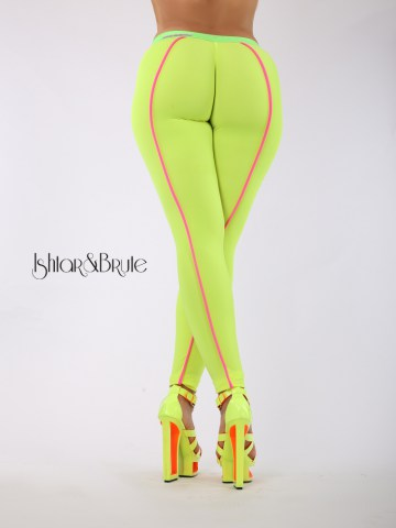 Cheeks leeging in yellow neon spandex 6