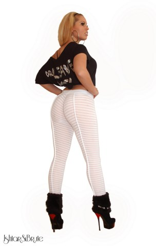 Cheeks legging in striped mesh 3
