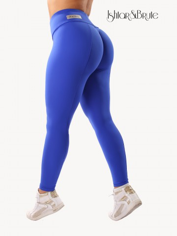 Ishtar and Brute cheeks legging in blue matt spandex 12