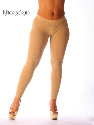 Ishtar and Brute cheeks legging in cream spandex with gold lame 2