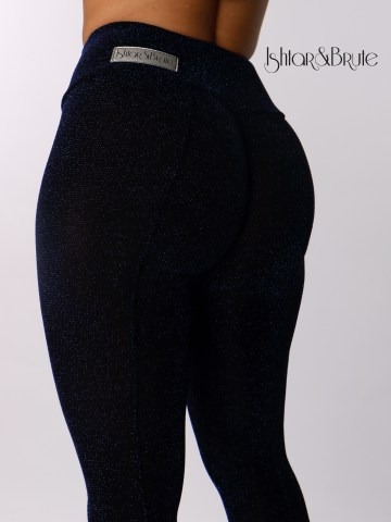 ishtar and brute navy blue spandex with blue lame cheeks leggings 1